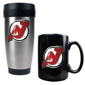 New Jersey Devils Stainless Steel Travel Tumbler & Black Ceramic Mug Set