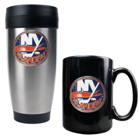 New York Islanders Stainless Steel Travel Tumbler & Black Ceramic Mug Set