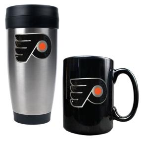 Philadelphia Flyers Stainless Steel Travel Tumbler & Black Ceramic Mug Set