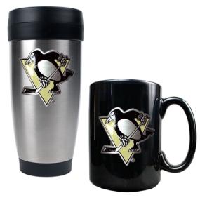 Pittsburgh Penguins Stainless Steel Travel Tumbler & Black Ceramic Mug Set