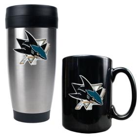 San Jose Sharks Stainless Steel Travel Tumbler & Black Ceramic Mug Set