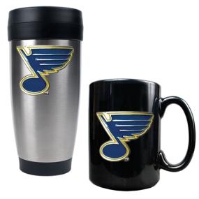 St. Louis Blues Stainless Steel Travel Tumbler & Black Ceramic Mug Set