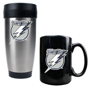 Tampa Bay Lightning Stainless Steel Travel Tumbler & Black Ceramic Mug Set