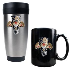 Florida Panthers Stainless Steel Travel Tumbler & Black Ceramic Mug Set