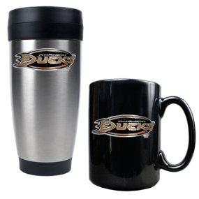Anaheim Ducks Stainless Steel Travel Tumbler & Black Ceramic Mug Set