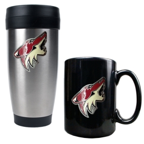 Phoenix Coyotes Stainless Steel Travel Tumbler & Black Ceramic Mug Set