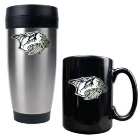 Nashville Predators Stainless Steel Travel Tumbler & Black Ceramic Mug Set