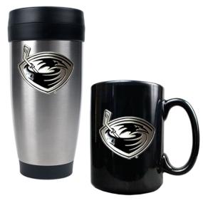 Atlanta Thrashers Stainless Steel Travel Tumbler & Black Ceramic Mug Set