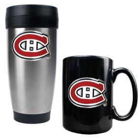 Montreal Canadiens Stainless Steel Travel Tumbler & Black Ceramic Mug Set