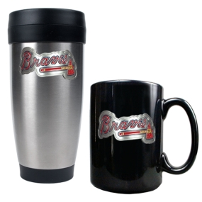 Atlanta Braves Stainless Steel Travel Tumbler & Black Ceramic Mug Set