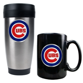 Chicago Cubs Stainless Steel Travel Tumbler & Black Ceramic Mug Set