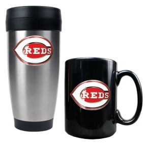 Cincinnati Reds Stainless Steel Travel Tumbler & Black Ceramic Mug Set