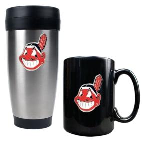 Cleveland Indians Stainless Steel Travel Tumbler & Black Ceramic Mug Set