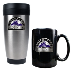 Colorado Rockies Stainless Steel Travel Tumbler & Black Ceramic Mug Set