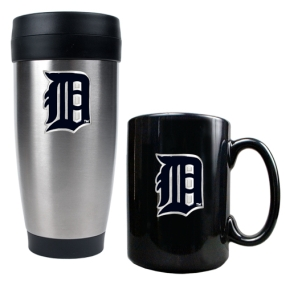 Detroit Tigers Stainless Steel Travel Tumbler & Black Ceramic Mug Set