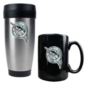 Florida Marlins Stainless Steel Travel Tumbler & Black Ceramic Mug Set