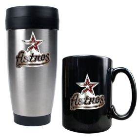 Houston Astros Stainless Steel Travel Tumbler & Black Ceramic Mug Set