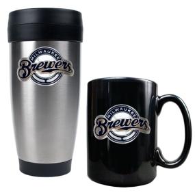 Milwaukee Brewers Stainless Steel Travel Tumbler & Black Ceramic Mug Set