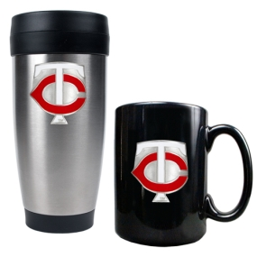 Minnesota Twins Stainless Steel Travel Tumbler & Black Ceramic Mug Set
