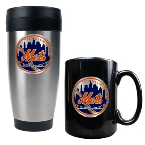 New York Mets Stainless Steel Travel Tumbler & Black Ceramic Mug Set