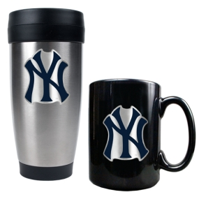 New York Yankees Stainless Steel Travel Tumbler & Black Ceramic Mug Set