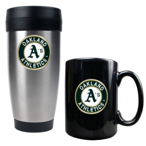 Oakland A's Stainless Steel Travel Tumbler & Black Ceramic Mug Set