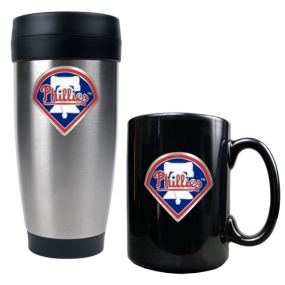Philadelphia Phillies Stainless Steel Travel Tumbler & Black Ceramic Mug Set