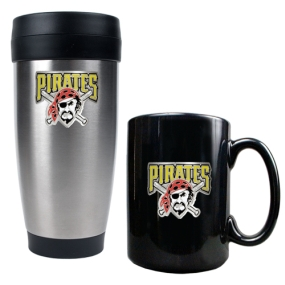 Pittsburgh Pirates Stainless Steel Travel Tumbler & Black Ceramic Mug Set