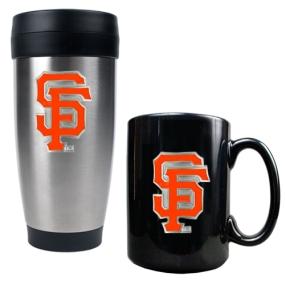 San Francisco Giants Stainless Steel Travel Tumbler & Black Ceramic Mug Set