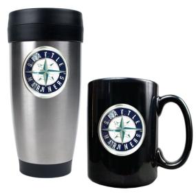 Seattle Mariners Stainless Steel Travel Tumbler & Black Ceramic Mug Set