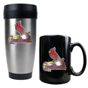 Saint Louis Cardinals Stainless Steel Travel Tumbler & Black Ceramic Mug Set