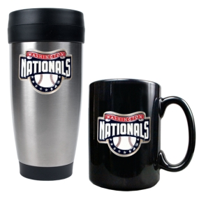 Washington Nationals Stainless Steel Travel Tumbler & Black Ceramic Mug Set