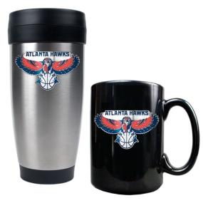 Atlanta Hawks Stainless Steel Travel Tumbler & Black Ceramic Mug Set