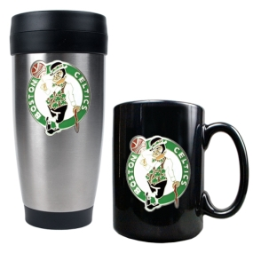 Boston Celtics Stainless Steel Travel Tumbler & Black Ceramic Mug Set