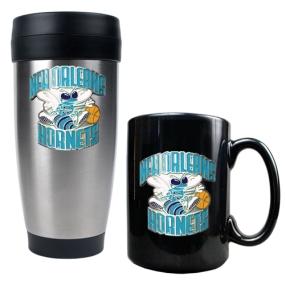 New Orleans Hornets Stainless Steel Travel Tumbler & Black Ceramic Mug Set