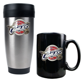 Cleveland Cavaliers Stainless Steel Travel Tumbler & Black Ceramic Mug Set