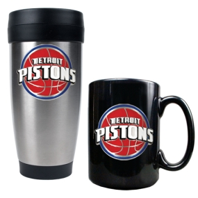 Detroit Pistons Stainless Steel Travel Tumbler & Black Ceramic Mug Set