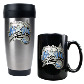 Golden State Warriors Stainless Steel Travel Tumbler & Black Ceramic Mug Set