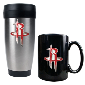 Houston Rockets Stainless Steel Travel Tumbler & Black Ceramic Mug Set