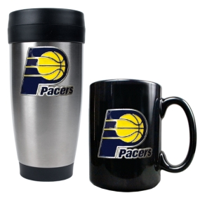 Indiana Pacers Stainless Steel Travel Tumbler & Black Ceramic Mug Set