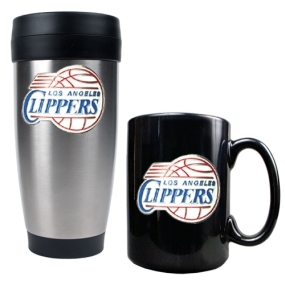 Los Angeles Clippers Stainless Steel Travel Tumbler & Black Ceramic Mug Set