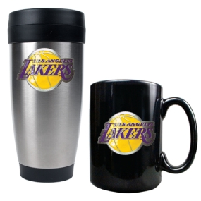 Los Angeles Lakers Stainless Steel Travel Tumbler & Black Ceramic Mug Set