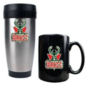 Milwaukee Bucks Stainless Steel Travel Tumbler & Black Ceramic Mug Set
