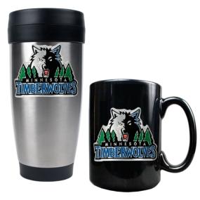 Minnesota Timberwolves Stainless Steel Travel Tumbler & Black Ceramic Mug Set