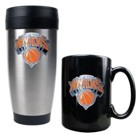 New York Knicks Stainless Steel Travel Tumbler & Black Ceramic Mug Set