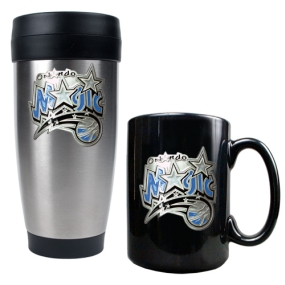 Orlando Magic Stainless Steel Travel Tumbler & Black Ceramic Mug Set