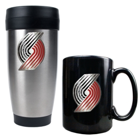Portland Trailblazers Stainless Steel Travel Tumbler & Black Ceramic Mug Set