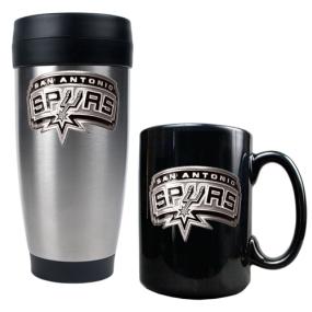 San Antonio Spurs Stainless Steel Travel Tumbler & Black Ceramic Mug Set