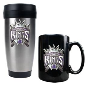 Sacramento Kings Stainless Steel Travel Tumbler & Black Ceramic Mug Set