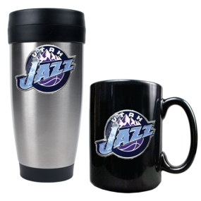 Utah Jazz Stainless Steel Travel Tumbler & Black Ceramic Mug Set